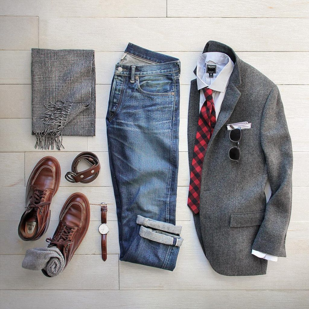 wool blazer jeans and boots mens style grid