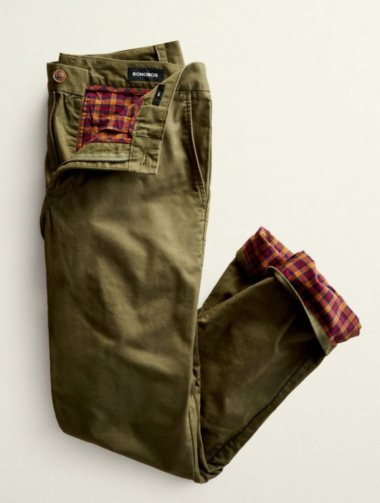 bonobos flannel lined chinos